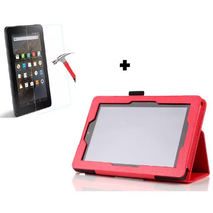 marques reconnues outlet acheter bien Housse - Etui Tablette Amazon FIRE 7/8 - ROUGE + Verre blindé