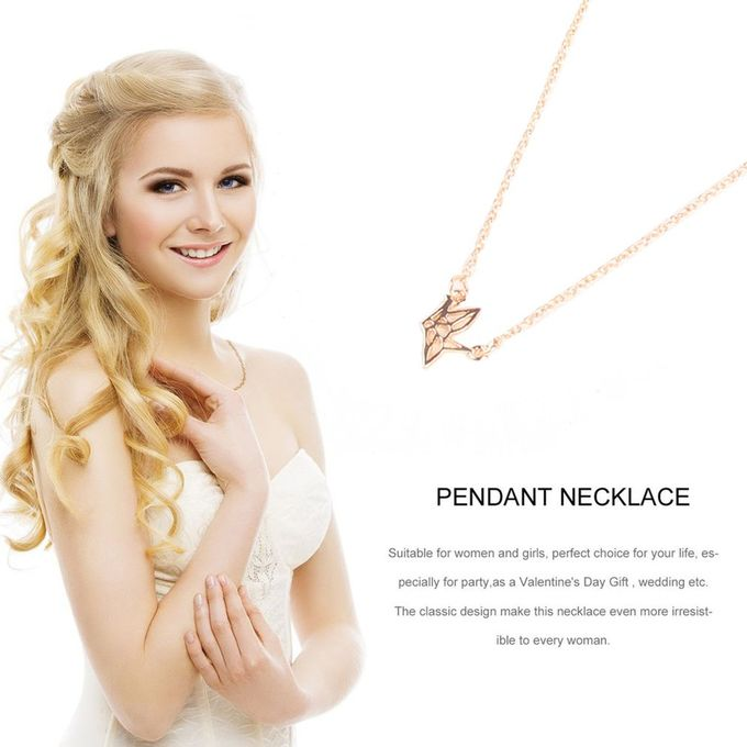 Golden Female Well-Matched Fashion Jewelry Paper Crane Bird Alloy Clavicle Pendant Short Chocker Necklace Women Gift