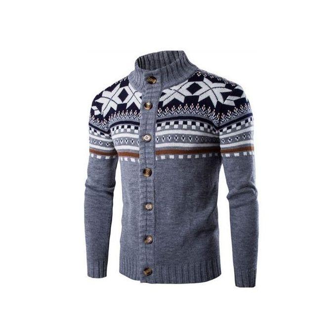 Men Christmas Cardigan Sweater Winter Plus Size Men\u0027sweaters Long Sleeve  Jacket Casual Knitted Sweater Coat Knitwear (Grey)