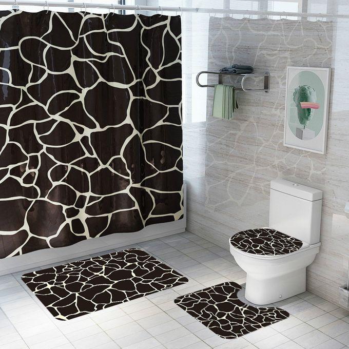 rideau de douche imprime marbre 4 pieces ensemble moquette de toilette tapis de salle de bains antiderapants rideau de separation fournitures de