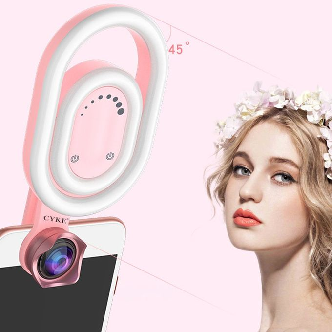 Fill Light Mobile Live Broadcast Small Wide-Angle Lens HD Skin Reflex SLR Camera Artifact Color : Pink