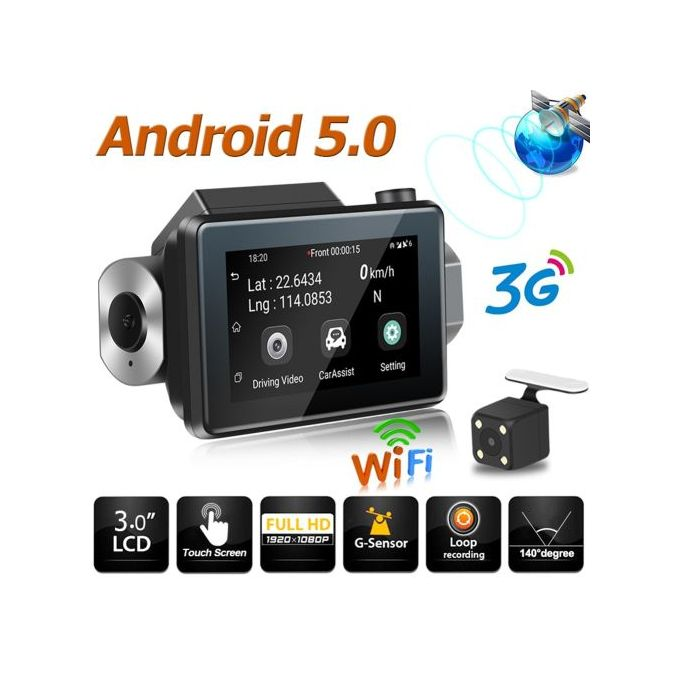 Phisung K9 Android5.0 Car DVR Camera GPS 3G WIFI Dual Lens WDR Dash Cam Recorder