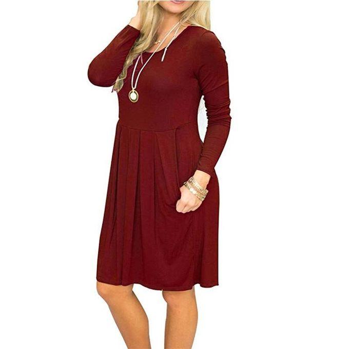 Generic Printemps Aline Robe Femmes Robe D Hiver Decontracte Rouge Bleu Marine Robe De Soiree Ample Femmes Col Rond A Manches Longues Robe Dames Burgundy Wt Prix Pas Cher Jumia Sn