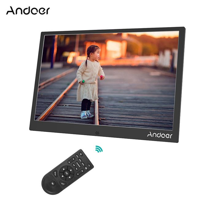 800 Resolution Support 1080P Video Shuffle Play Aluminum Alloy with Remote Control Christmas Birthday Gift Andoer 13inch LED Digital Photo Frame 1280
