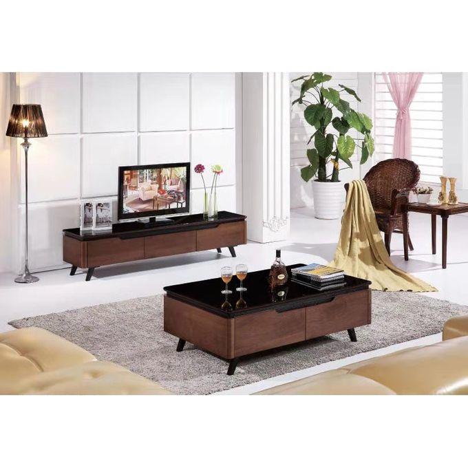 meuble tv table basse en bois et verre marron