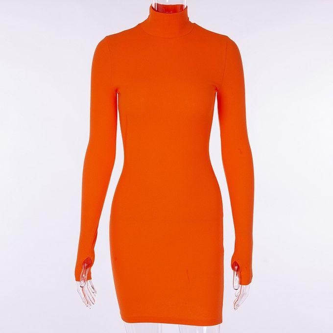 Generic Cotele Col Roule A Manches Longues Robe D Hiver Femmes Mode Vestidos Tendance Couleur Mince Robes Moulantes Orange Prix Pas Cher Jumia Sn