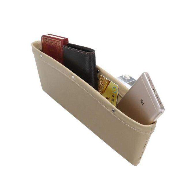 2pcs PU Leather Catch Catcher Box Caddy Car Seat Slit Pocket Storage Organizer