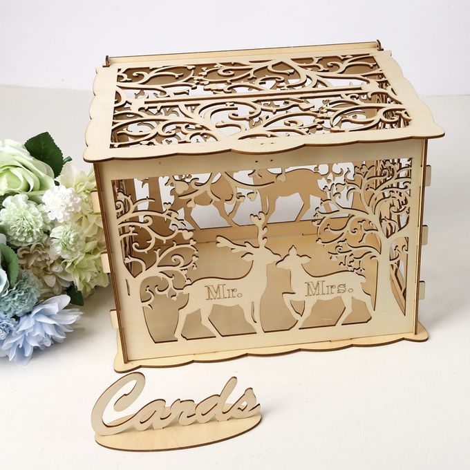 Generic Diy Wooden Wedding Card Box With Lock And Card Sign Rustic