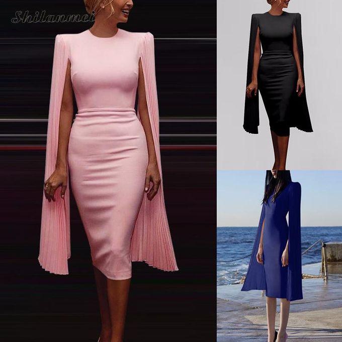 Generic Elegant Cape Manches Robe Femmes Mince Solide Robe Moulante Femme Bureau Dame Vetements De Travail Vintage Hanche Paquet Robes De Soiree Pink Xyx Prix Pas Cher Jumia Sn