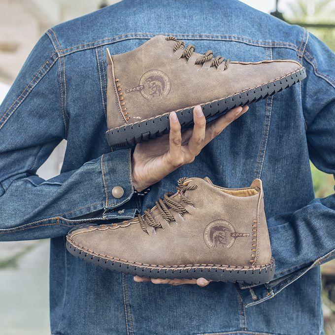Homme Hiver Doublé de Fourrure Chaud Bottines High Top lace up casual shoesplus Taille