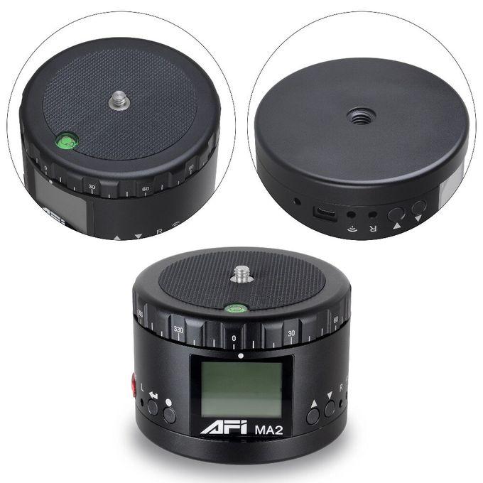 Black Time Lapse Video Camera Rotator Panorama Tripod Head LED 360 Timelapse Panning for Canon Nikon Sony DSLR Phone