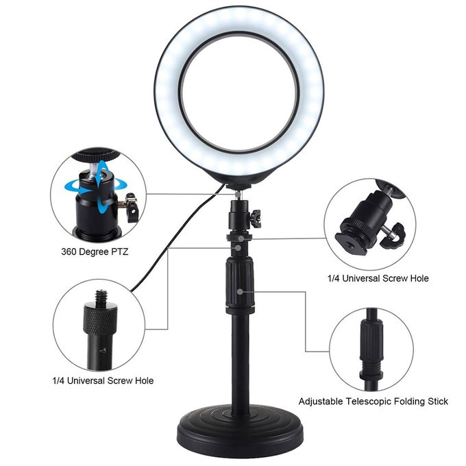 6.2 inch 3 Modes USB Dimmable LED Ring Vlogging Video Light Happyshopping Adjustable Stand Round Base Desktop Mount 18cm-28cm Adjustable Height
