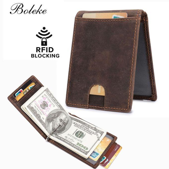 Homme RFID Bloquant en cuir Business Credit Card Case poche avant Wallet Purse