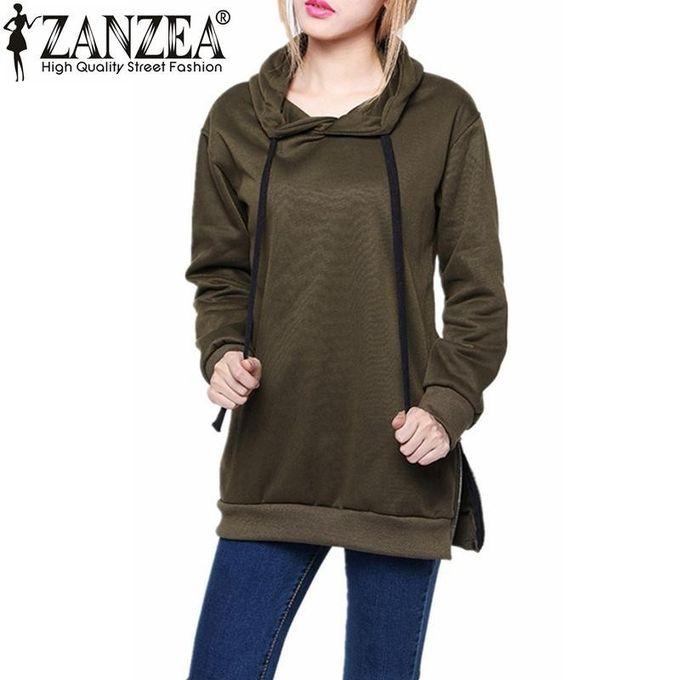 ZANZEA Femmes Capuche Manches Longues Hoodie Sweatshirt Pull Capuche Les dessus