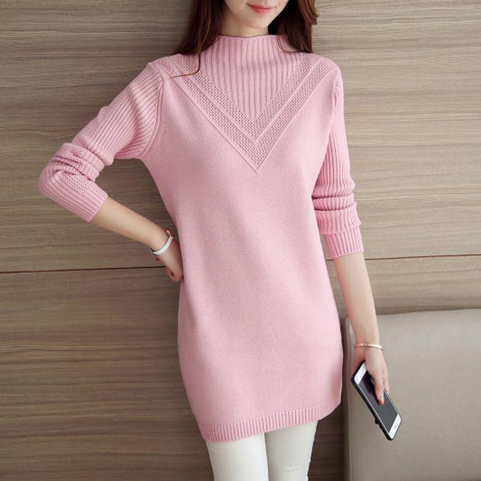 Generic Automne Moyen Pull Femmes Tricots Hiver Robe Pull Rose Blanc Coreen Lache Long Epais Chaud Tete Femme Etudiant Confortable Pink Prix Pas Cher Jumia Sn