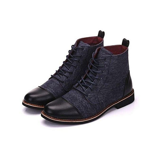 pour Bottes Martin Hommes en Boots Mode Cuir Big Yards Noir AR4j5L
