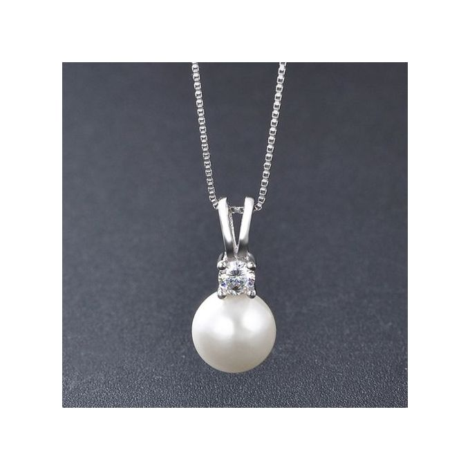 MMC Korean Style Pearl Stone Silver Pendants Necklaces