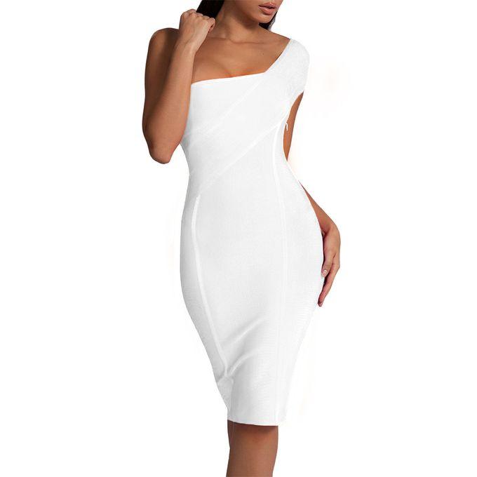 Generic Celebrite Robe Bandeau Nouveaute Ete Femmes Neon Vert Robe Moulante Une Epaule Robe De Soiree White Xyx Prix Pas Cher Jumia Sn