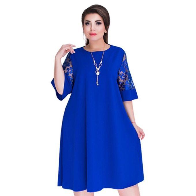 Generic Epissure Dentelle Lache Ete Robes De Grande Taille Femmes Genou Longueur Robe De Bureau Royal Blue Dress Wt Prix Pas Cher Jumia Sn