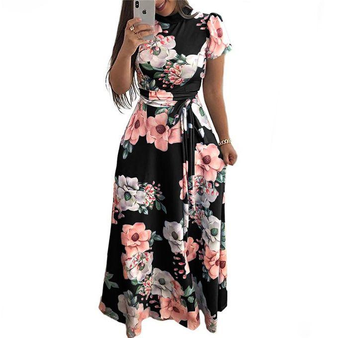 Generic Femmes Robe D Ete Decontracte A Manches Courtes Robe Longue Boho Imprime Fleuri Maxi Robe Col Roule Pansement Robes Elegantes Vestido Black Wt Prix Pas Cher Jumia Sn