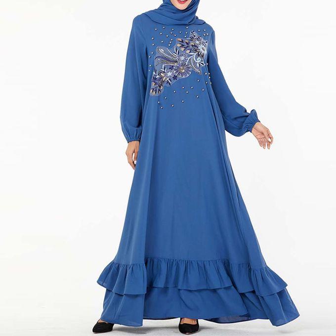 Generic Bleu Abaya Dubai Turc Hijab Robe Musulmane Abayas Pour Les Femmes Caftan Marocain Caftan Islamique Vetements Tesettur Elbise Islam Robe Blue Dress Prix Pas Cher Jumia Sn