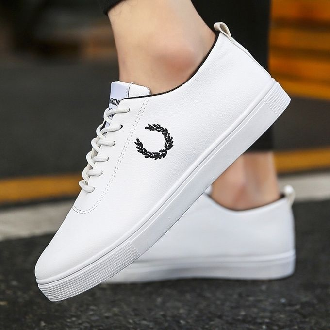 Leather White Shoes Flat Sports Shoes