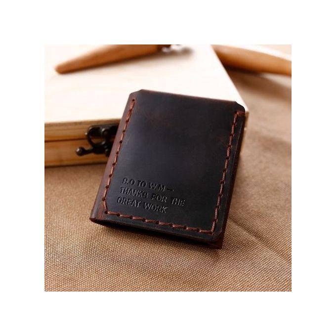 Vintage Crazy Horse Leather Wallet Rivet Decoration Short Three-fold Leather Mens Purse