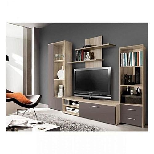 Meuble Tv Mur white label finlandek meuble tv mural pysyÄ 230 cm - décor chêne