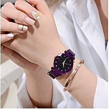 montre analogique pour femme - bracelet maille - mauve