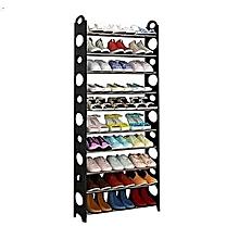 armoire à chaussures - noir - 30  paires - plastique et fer