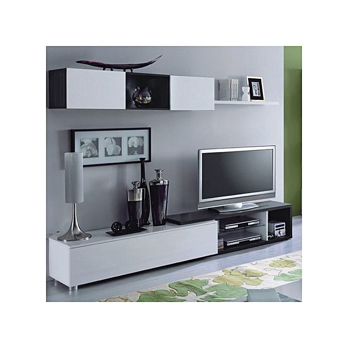 White label naia salon meuble tv 240 cm gris cendr for Meuble tv mural 240 cm blanc gris adhara