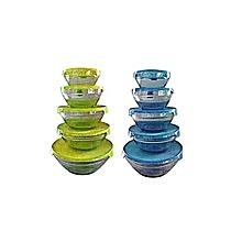 lot de 2 sets de 5 bols en verre - jaune et bleu