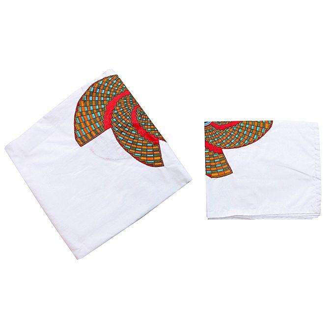 drap pour double lit avec motifs en wax deux housses oreillers blanc rouge vert jumia s n gal. Black Bedroom Furniture Sets. Home Design Ideas