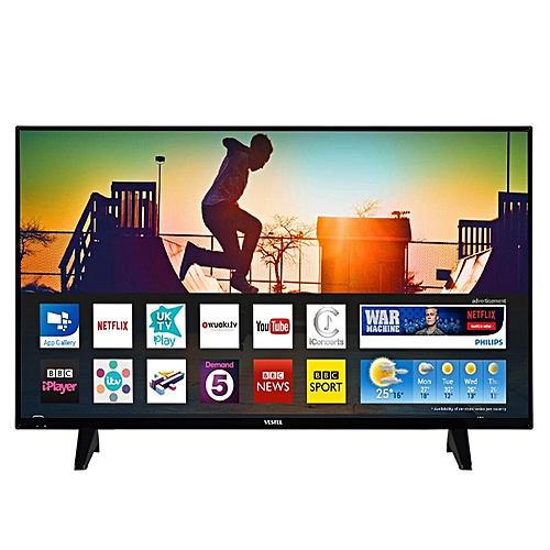 vestel t l viseur led 43 pouce smart tv 4k ultra hd 3840x2160 pixels noir prix pas cher. Black Bedroom Furniture Sets. Home Design Ideas