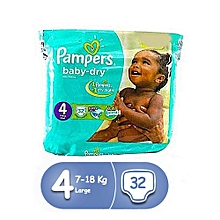 couches bébé baby dry maxi - taille 4 ( 7 - 18 kg ) - 32 couches