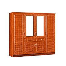 armoire formica bois 4 portes avec miroir - 200 x 200cm - marron