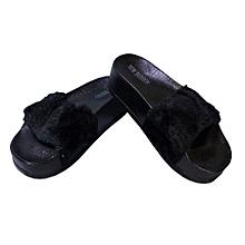 chaussure pantoufle à fourrure pour femme -  synthétique - noire