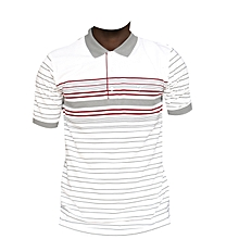 polo en coton blanc à rayures - gris/rouge