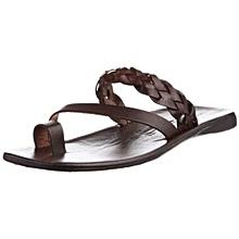 sandales en cuir - avec tresses - marron