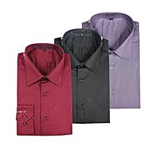 lot de 3 chemises homme - longues manches - rouge, noire et mauve