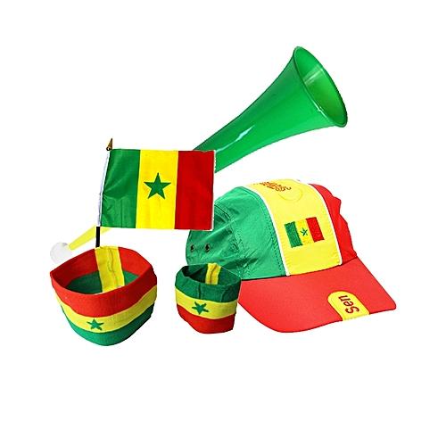 8f4efdd0a9b8c9 Kit du supporter (Casquette + Brassard + Vuvuzela + Mini Drapeau) - Vert