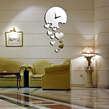 luxury 3d love heart home clock decor bell mirrors wall stickers sl-silver