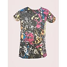 t-shirt - col rond -100% coton - multicolore